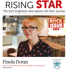 Finola Doran of Propeller Communications featured as Rising Star in Music Week's rock issue